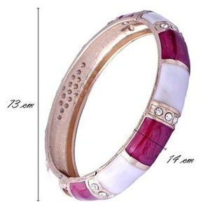Jewelry - 18K Gold Plated Fuchsia & White Enamel Bangle